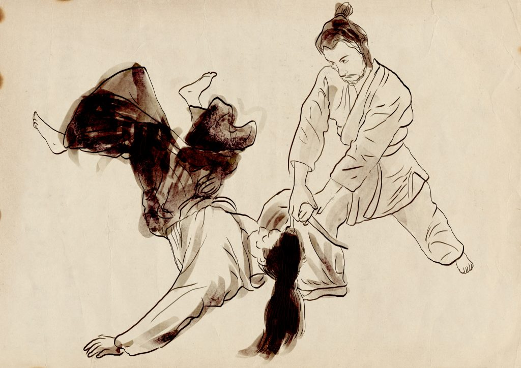 a hand drawn depiction of youth aikido classes